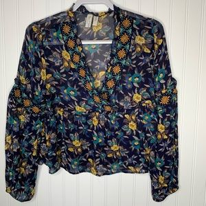 Meadow Rue floral long sleeve blouse size S